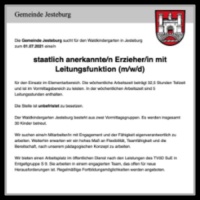 staatlich anerkannte/r Erzieher/in mit Leitungsfunktion (d/m/w)