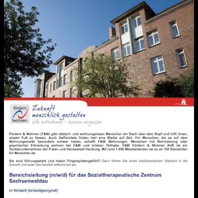 Bereichsleitung (m/w/d) für das Sozialtherapeutische Zentrum Sachsenwaldau
