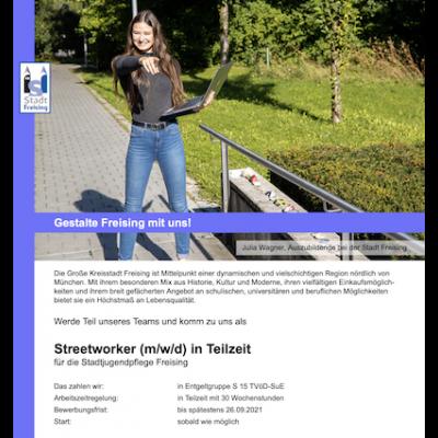 Streetworker (m/w/d) für die Stadtjugendpflege Freising