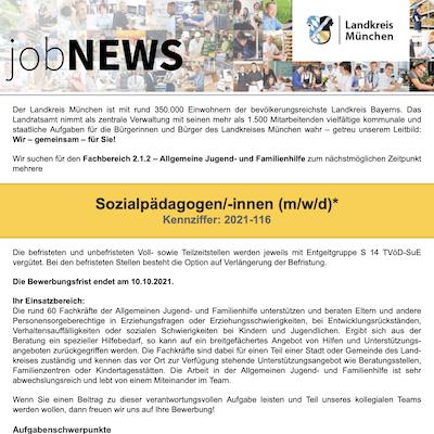 Sozialpädagogen/-innen (m/w/d)* für die allgemeine Jugend- und Familienhilfe