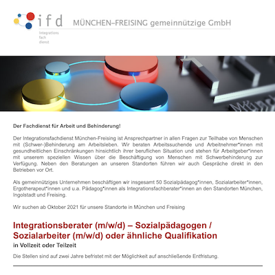 Integrationsberater (m/w/d) – Sozialpädagogen / Sozialarbeiter (m/w/d) oder ähnliche Qualifikation
