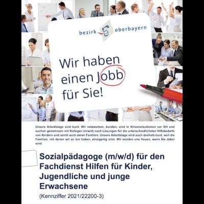 Sozialpädagoge (m/w/d) für den Fachdienst Hilfen für Kinder, Jugendliche und junge Erwachsene