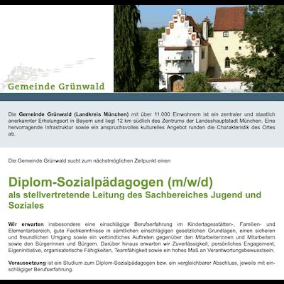 Diplom-Sozialpädagoge (m/w/d) als stellvertretende Leitung des Sachbereiches Jugend und Soziales