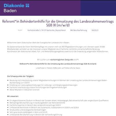 Referent*in Behindertenhilfe für die Umsetzung des Landesrahmenvertrags SGB IX (m/w/d)