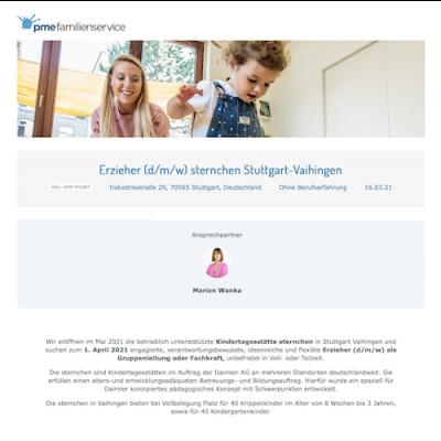 Erzieher (d/m/w) sternchen Stuttgart-Vaihingen