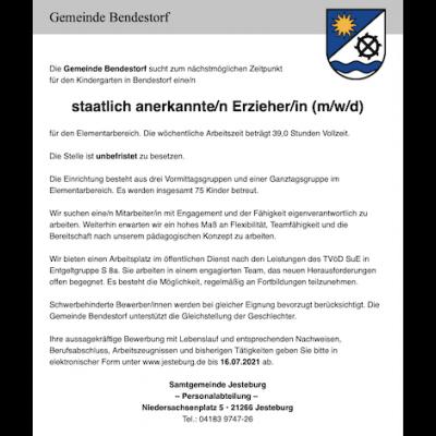staatlich anerkannte/r Erzieher/in (m/w/d) für den Kindergarten in Bendestorf