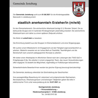 staatlich anerkannte/r Erzieher/in (m/w/d) für die Kindertagesstätte Seeveufer in Jesteburg