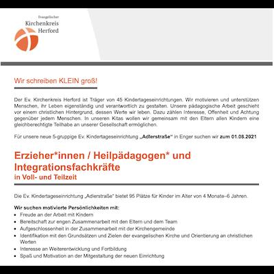 Erzieher / Heilpädagoge (m/w/d) und Integrationsfachkräfte
