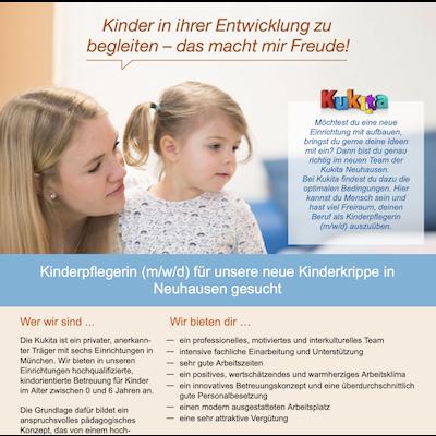 Kinderpflegerin (m/w/d) für unsere neue Kinderkrippe in Neuhausen und in Großhadern
