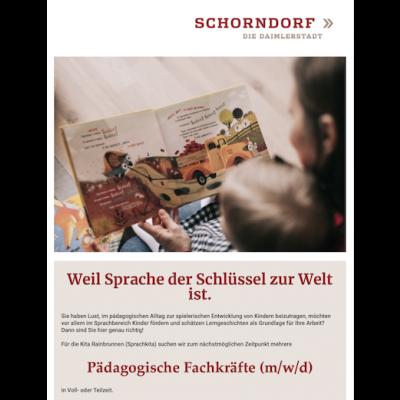 Pädagogische Fachkraft (m/w/d) in Voll- oder Teilzeit – Kita Rainbrunnen