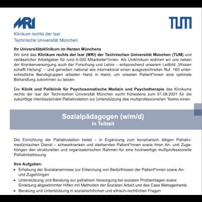 Sozialpädagoge (m/w/d) für die interdisziplinäre Palliativstation