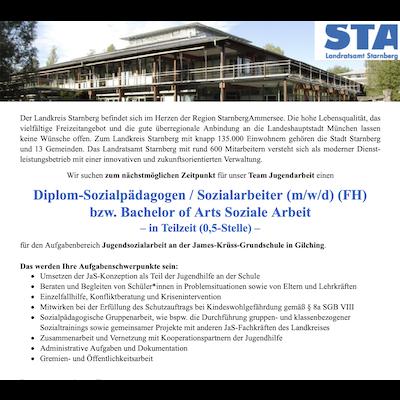 Diplom-Sozialpädagogen / Sozialarbeiter (m/w/d) (FH) bzw. Bachelor of Arts Soziale Arbeit für das Team Jugendarbeit