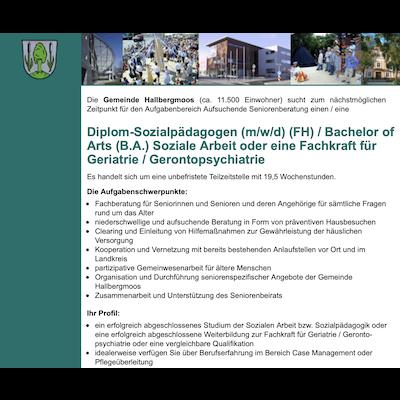 Diplom-Sozialpädagoge (m/w/d) (FH) / Bachelor of Arts (B.A.) Soziale Arbeit / Fachkraft für Geriatrie / Gerontopsychiatrie