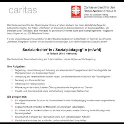 Sozialarbeiter / Sozialpädagoge (m/w/d) in Teilzeit